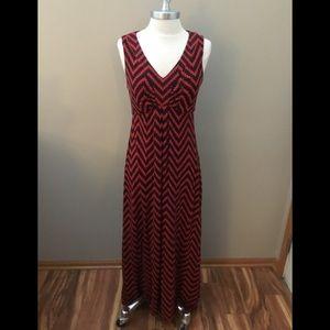 Chico's Black/Red Pattern Maxi Dress